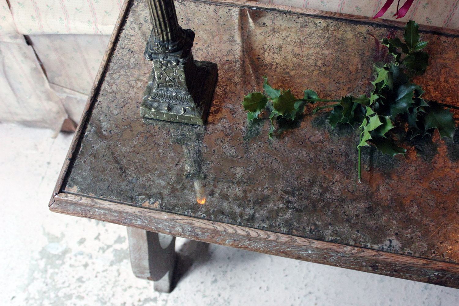 A Limed Oak & Mirror Topped Italian Console Table c.1940