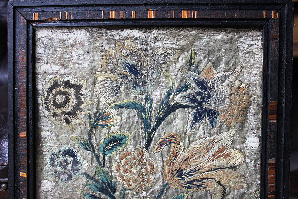 An Interesting c.1680 French Monastic Woolwork & Metal Threadwork Embroidery of a Still Life of Flowers