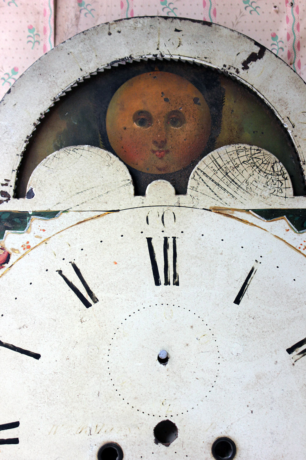 A Decorative 18thC Moon Phase Painted Longcase Clock Dial c.1780-90