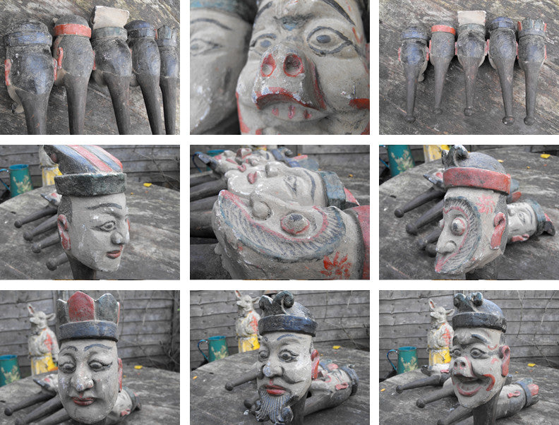 A Rare Complete Set of Five Southern Chinese 'Monkey King' Polychrome Decorated Wood & Gesso Folk Art Puppet Heads