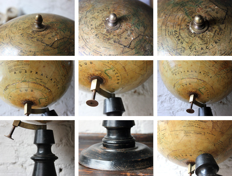 "A Fine c.1895 French Terrestrial Table Globe; ""Globe Terrestre"" prepared by J FOREST, Paris"
