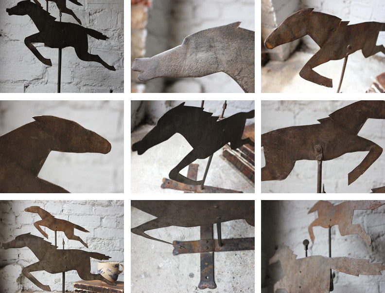 A Primitive c.1910 Cut Metal Weather Vane in the Form of a Pair of Running Horses