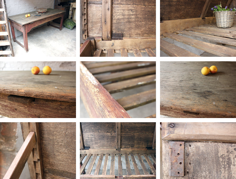 A Large Rustic c.1900 Pine Adjustable Potting Table/Bench
