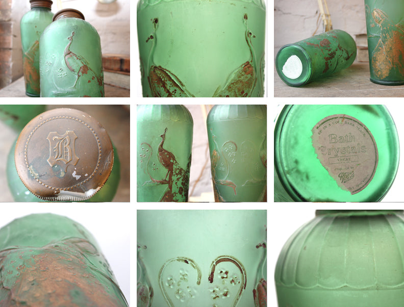 An Attractive Pair of Early 20thC Boots Chemist Advertising Glass Bath Crystals Jars & Covers