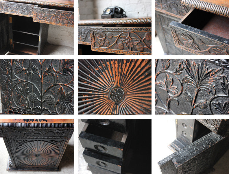 A Good Mid-19thC Anglo-Indian Carved & Ebonised Pedestal Sideboard From Devizes Castle, Wiltshire, England