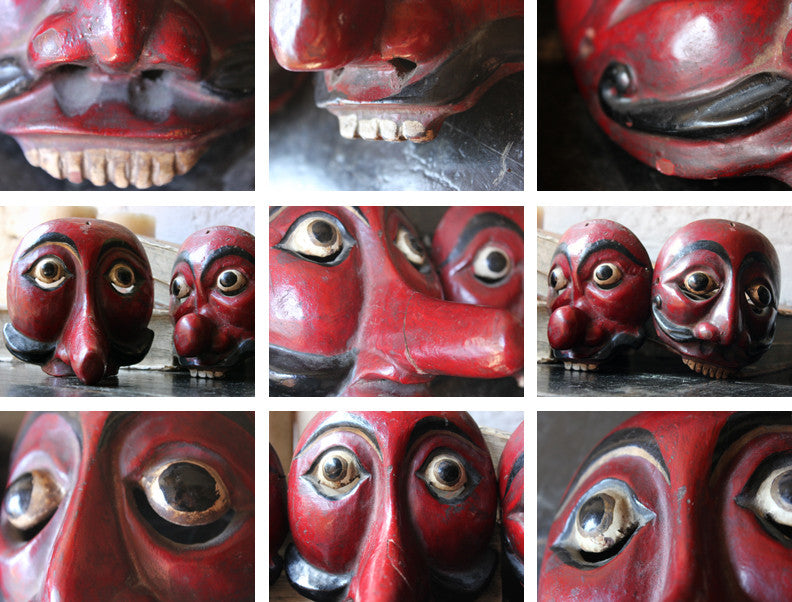 A Decorative Set of Three Early 20thC Indonesian Carved & Painted Hardwood Topeng Theatre Masks