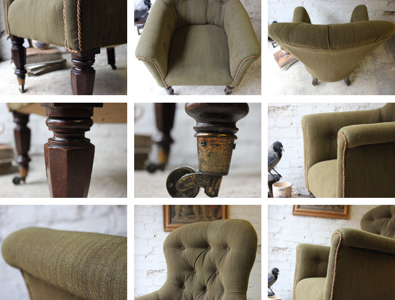 A Good George IV Regency Period Upholstered Wingback Armchair c.1820