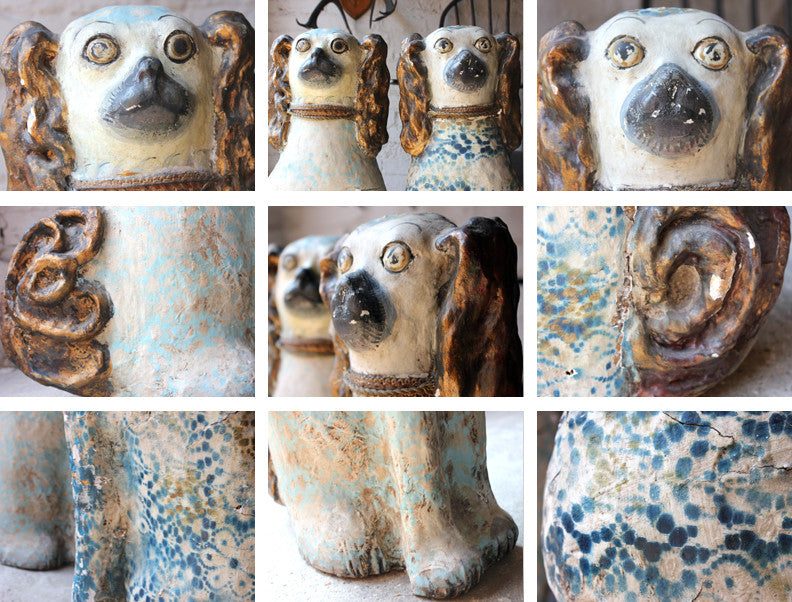A Whimsical Pair of Large Early 20thC Papier-Mâché Polychrome Decorated Spaniel Dogs