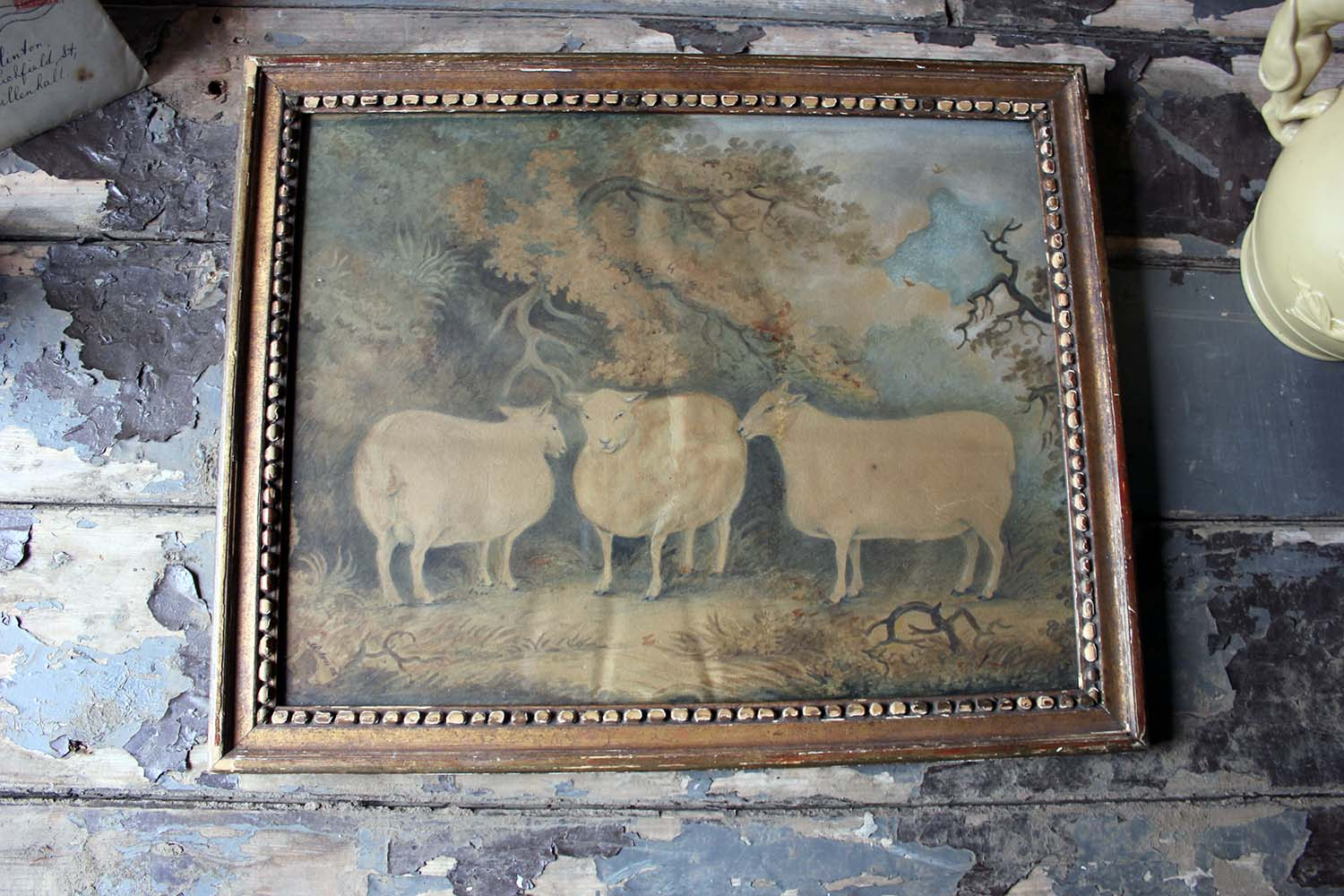 An Early 19thC Naïve School Watercolour of Three Prize Sheep c.1812