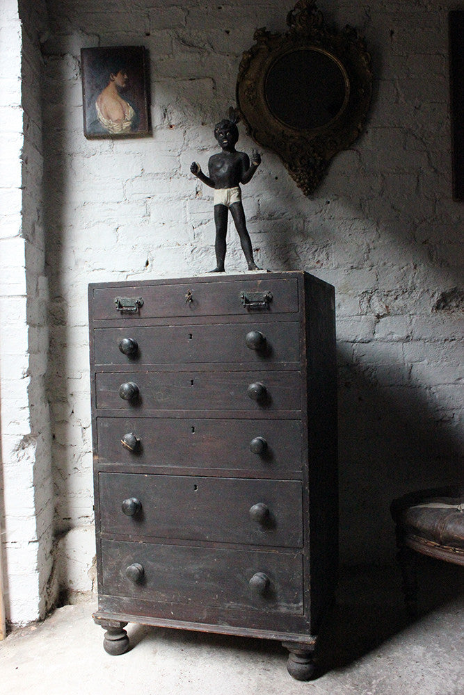 A Decorative c.1900 Black Painted Pine Narrow Chest of Drawers