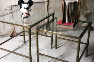 A Mid-20thC French Nest of Two Brass & Glass Occasional Tables c.1950-60