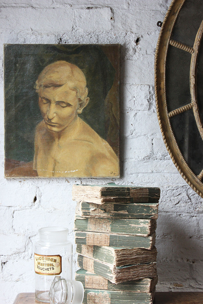 A Good British School Oil on Canvas; Male Nude Study Dated to 1936