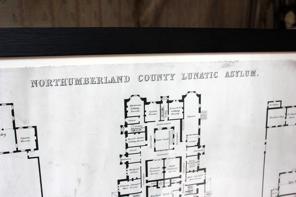 A Rare & Large Victorian Architect's Site Plan for Northumberland County Lunatic Asylum c.1888