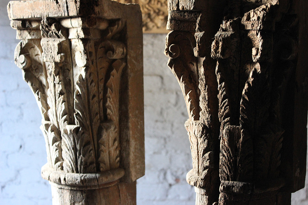 A Large Pair of 18thC Carved & Painted Oak Architectural Columns