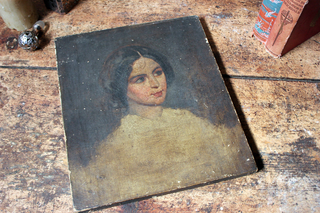 A Mid-19thC Unfinished English School Portrait of a Young Lady