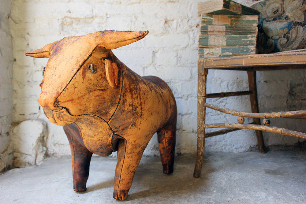 A Charming c.1960 Ormesa Leather Bull Footstool Retailed by Liberty & Co