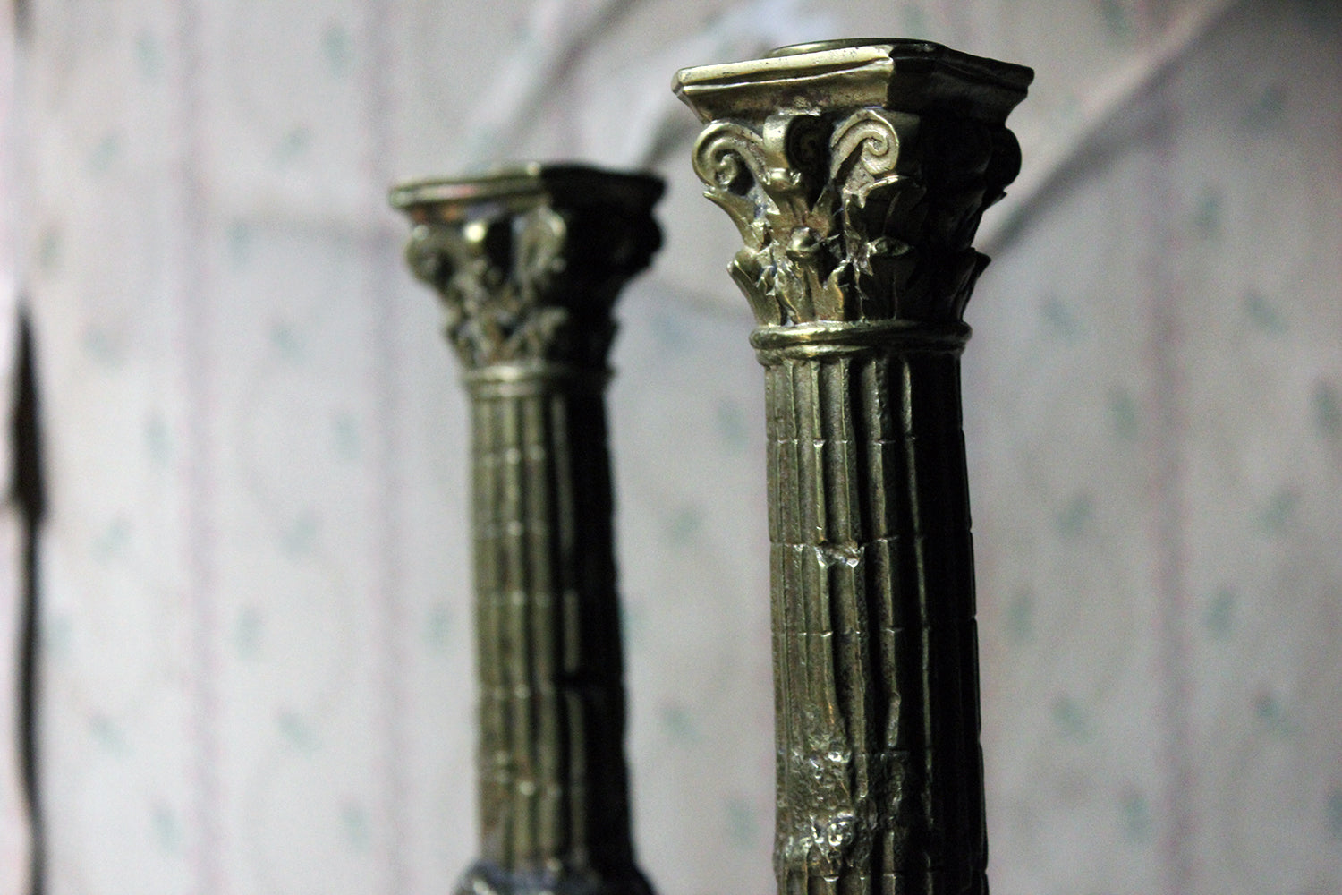 A Good Pair of Large 19thC Ormolu Candlesticks Modelled as Corinthian Capital Ruins c.1890