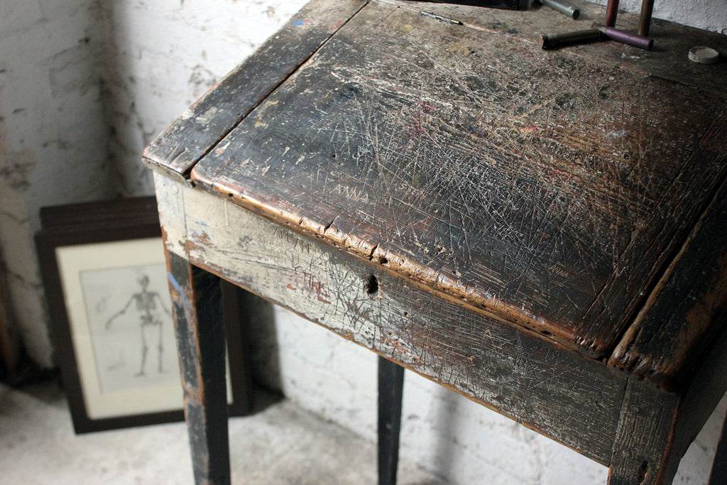 A Wonderful Painted Pine Mid-19thC Art-School Clerk's Desk c.1860-70