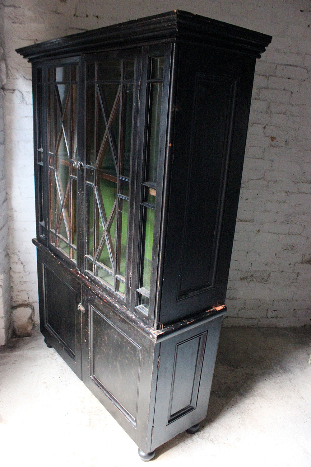 A Wonderful Early 19thC Cornish Painted Pine Glazed Housekeeper's Cupboard c.1810-30