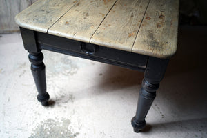A Late 19thC Welsh Estate Made Black Painted & Scrub Top Pine Table