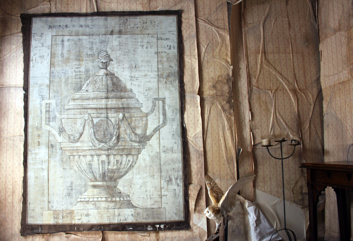 A Mid 20thC French Hand-Painted Trompe l'oeil Theatre Canvas Linen Backdrop