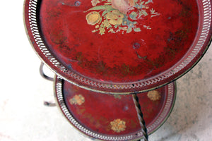 An Early 20thC French Red Painted Tole Occasional Table c.1920-25