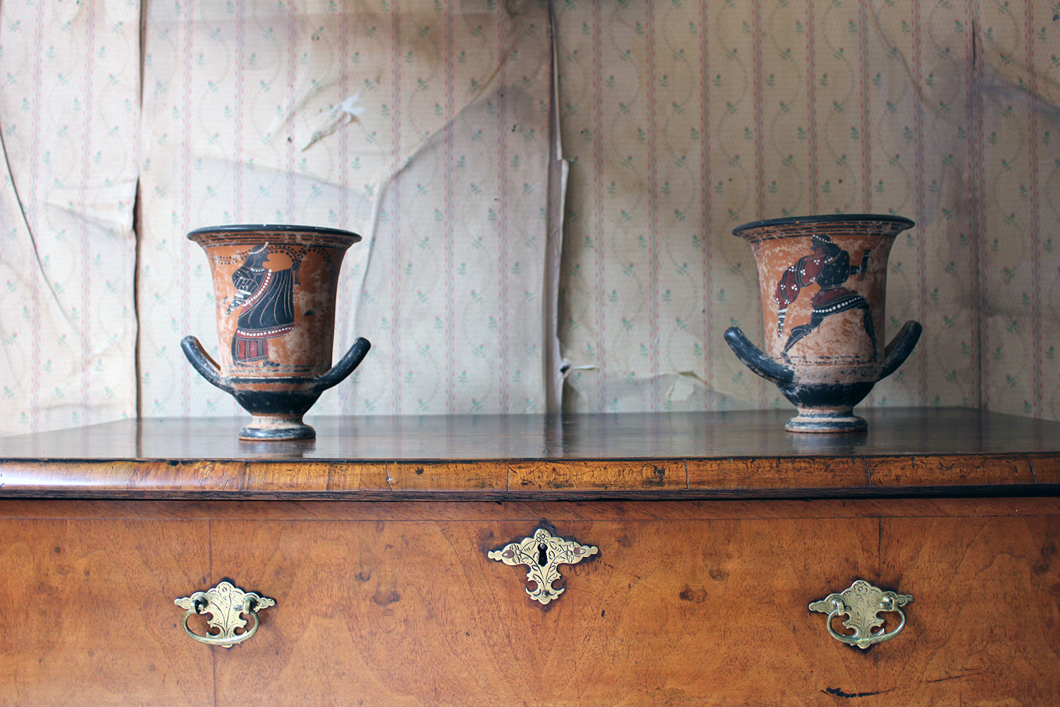 A Pair of 20thC Terracotta Attic-Style Bell Crater Vases