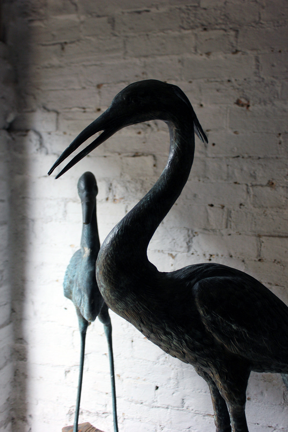A Wonderful Pair of Mid-20thC Ornamental Verdigris Cast Bronze Standing Herons c.1950-60