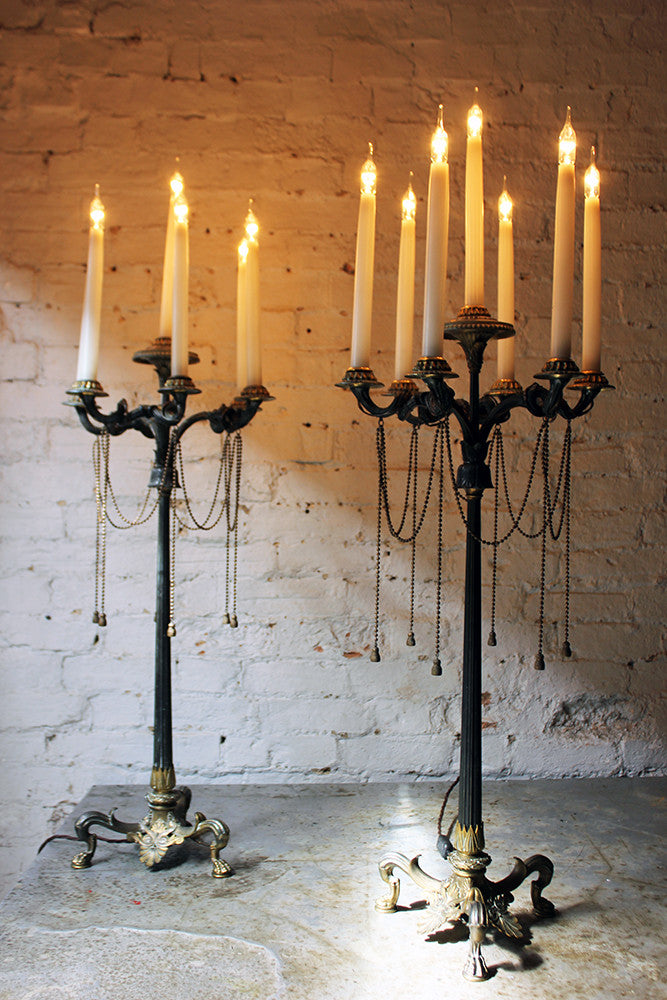 A Wonderful & Very Large Pair of Neo-Grec Patinated & Gilt Bronze Seven Light Candelabras by Elkington, Mason & Co. c.1850-60