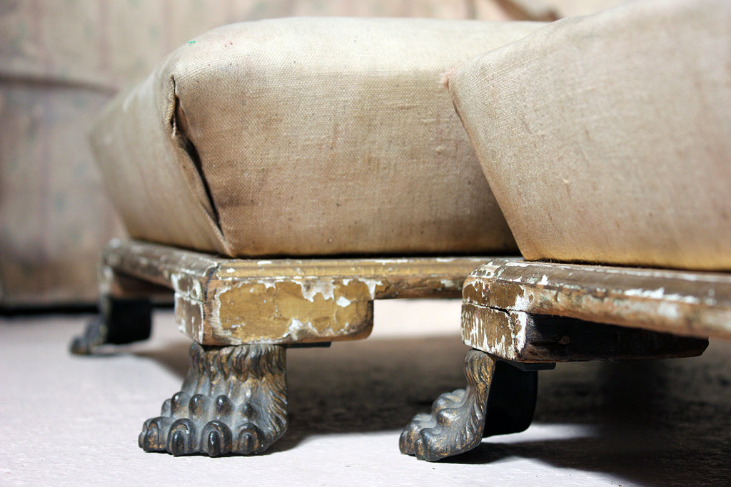 A Pair of Regency Period Giltwood & Upholstered Footstools c.1810-15