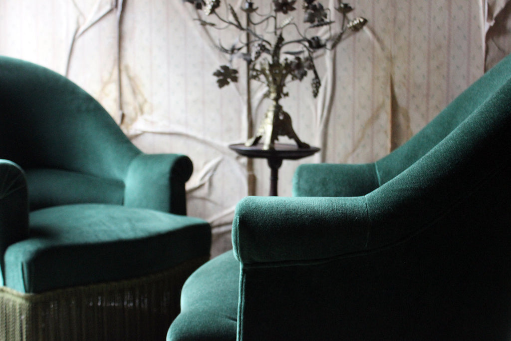 An Attractive Pair of French Napoleon III Style Beech & Green Velvet Upholstered Easy Armchairs c.1940-60