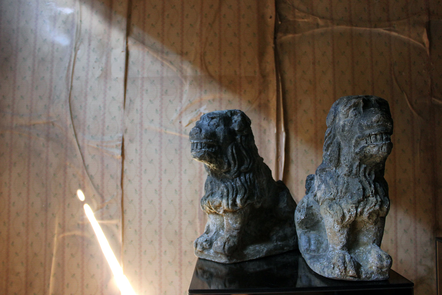 A Pair of Late 19thC Lead Cistern Supports Formed as Seated Lion-Dogs c.1900