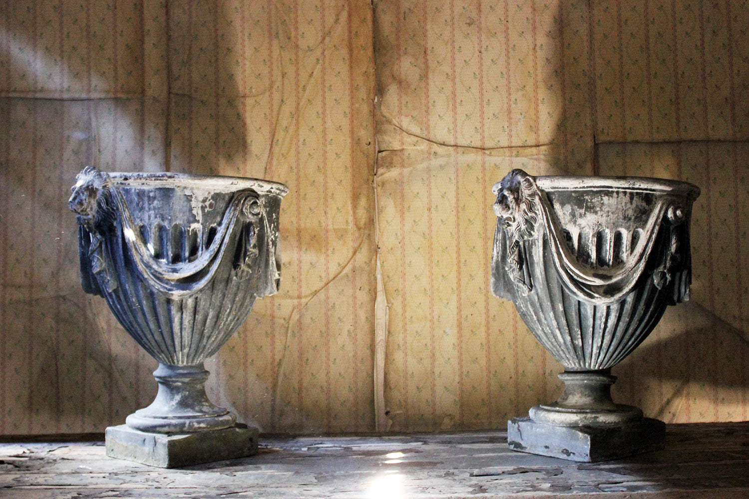 A Pair of 20thC Neoclassical Revival Lead Garden Urns
