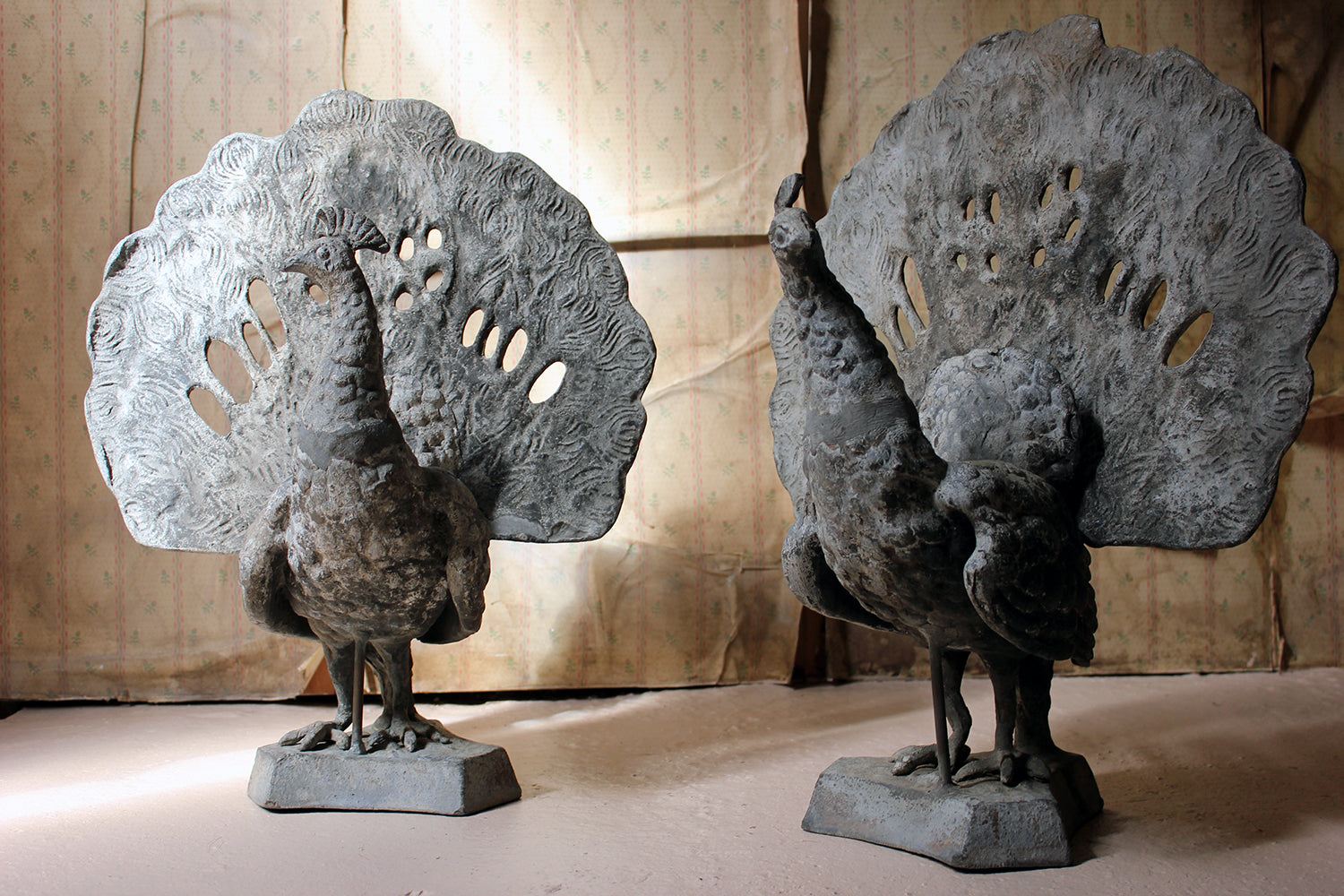 A Large Pair of Late Victorian Lead Sculptures of Peacocks c.1900