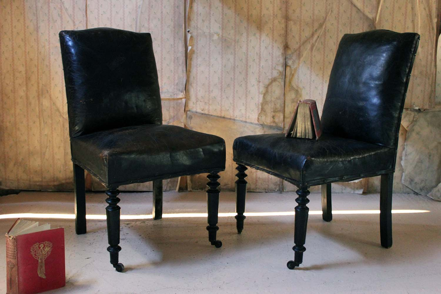 A Pair of 19thC French Black Leather Upholstered & Ebonised Library Chairs c.1880
