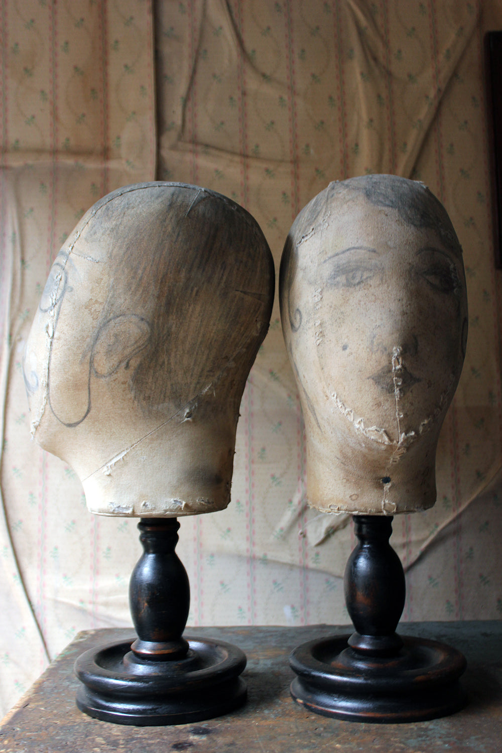 A Decorative Pair of Mannequin Shop Display Heads as a Flapper & Dandy