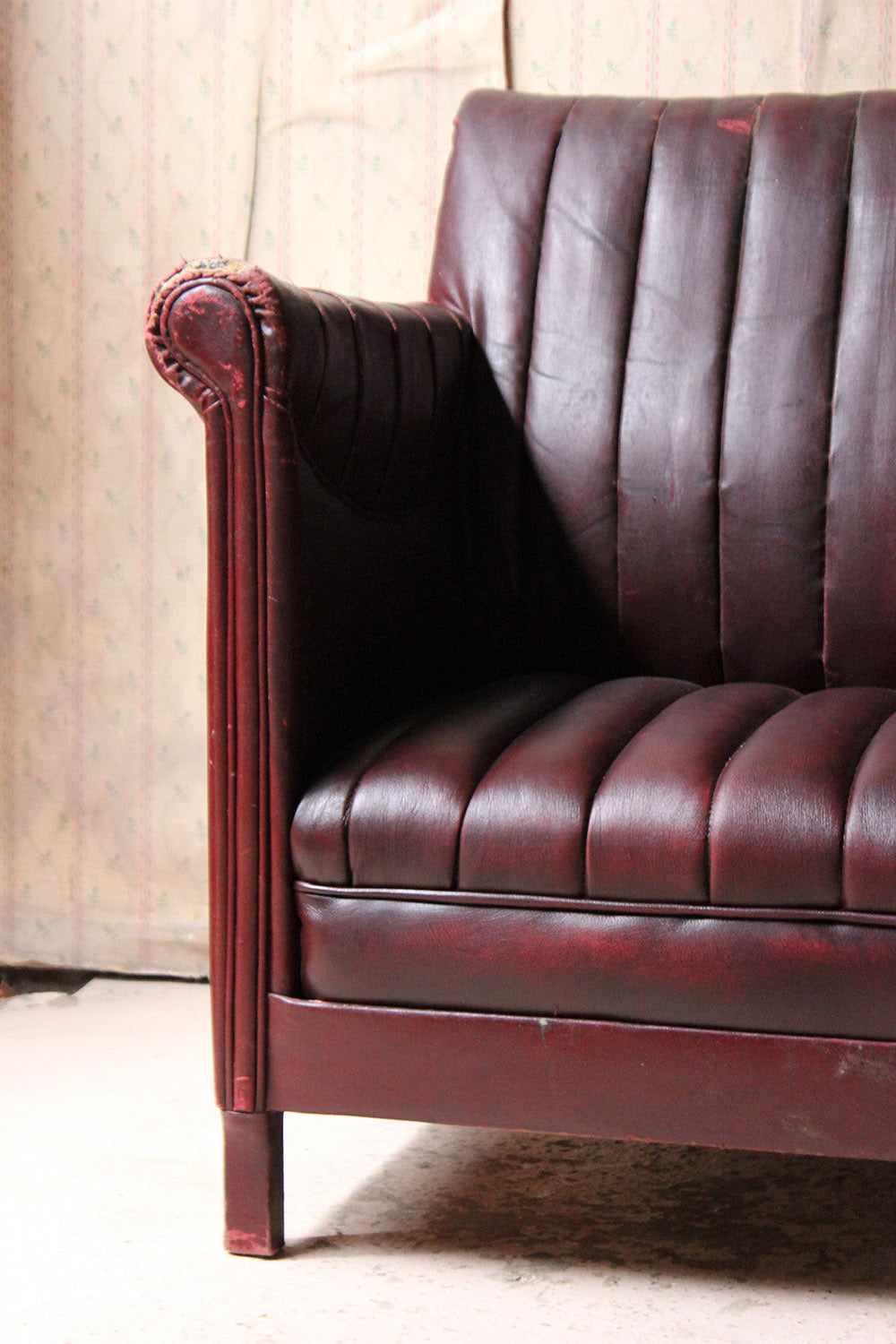 A Pair of French Modernist Burgundy Rexine & Leather Upholstered Armchairs c.1930-40