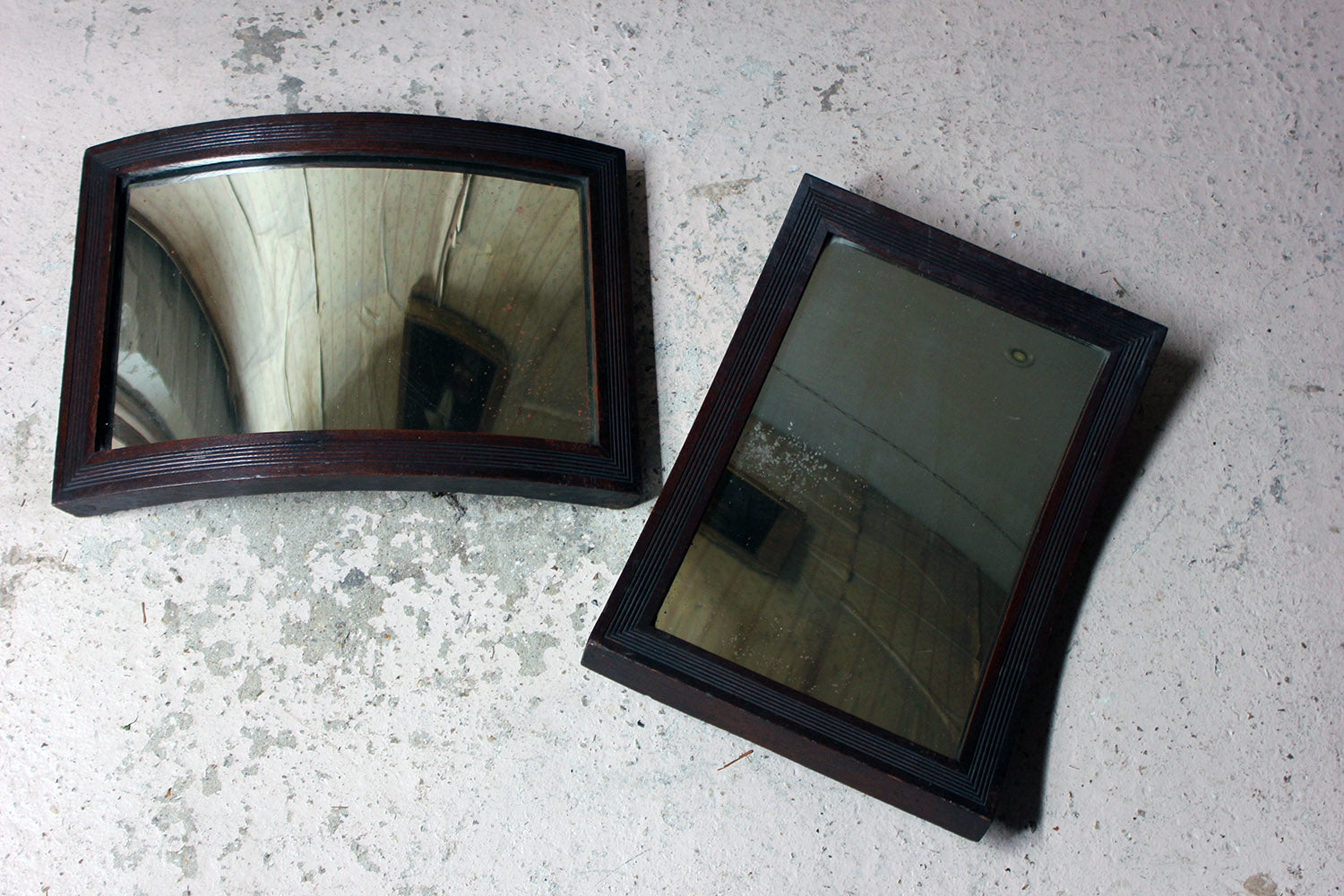A Rare Pair of Early 20thC Convex & Concave Oak Optometrists Wall Mirrors c.1925