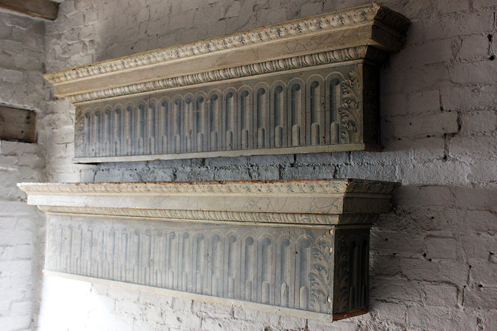 An Attractive Pair of George III Trompe-l'oeil Painted Pine Pelmets or Overdoors c.1790
