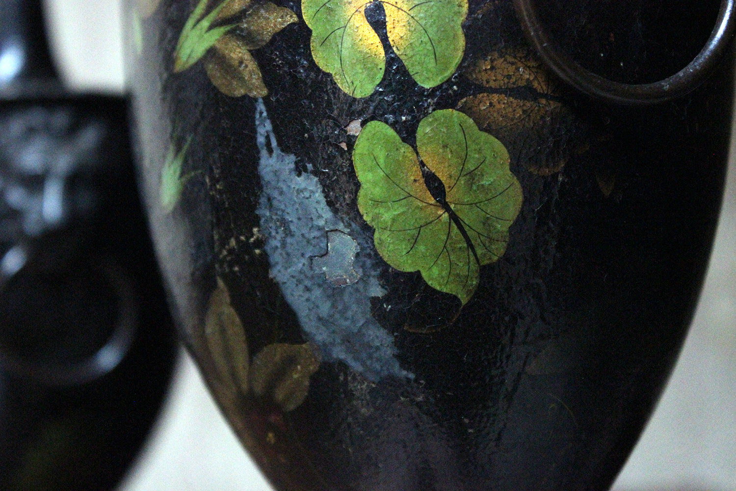 An Attractive Pair of Regency Period Black Japanned & Hand-Painted Pontypool Toleware Chestnut Urns c.1810-20