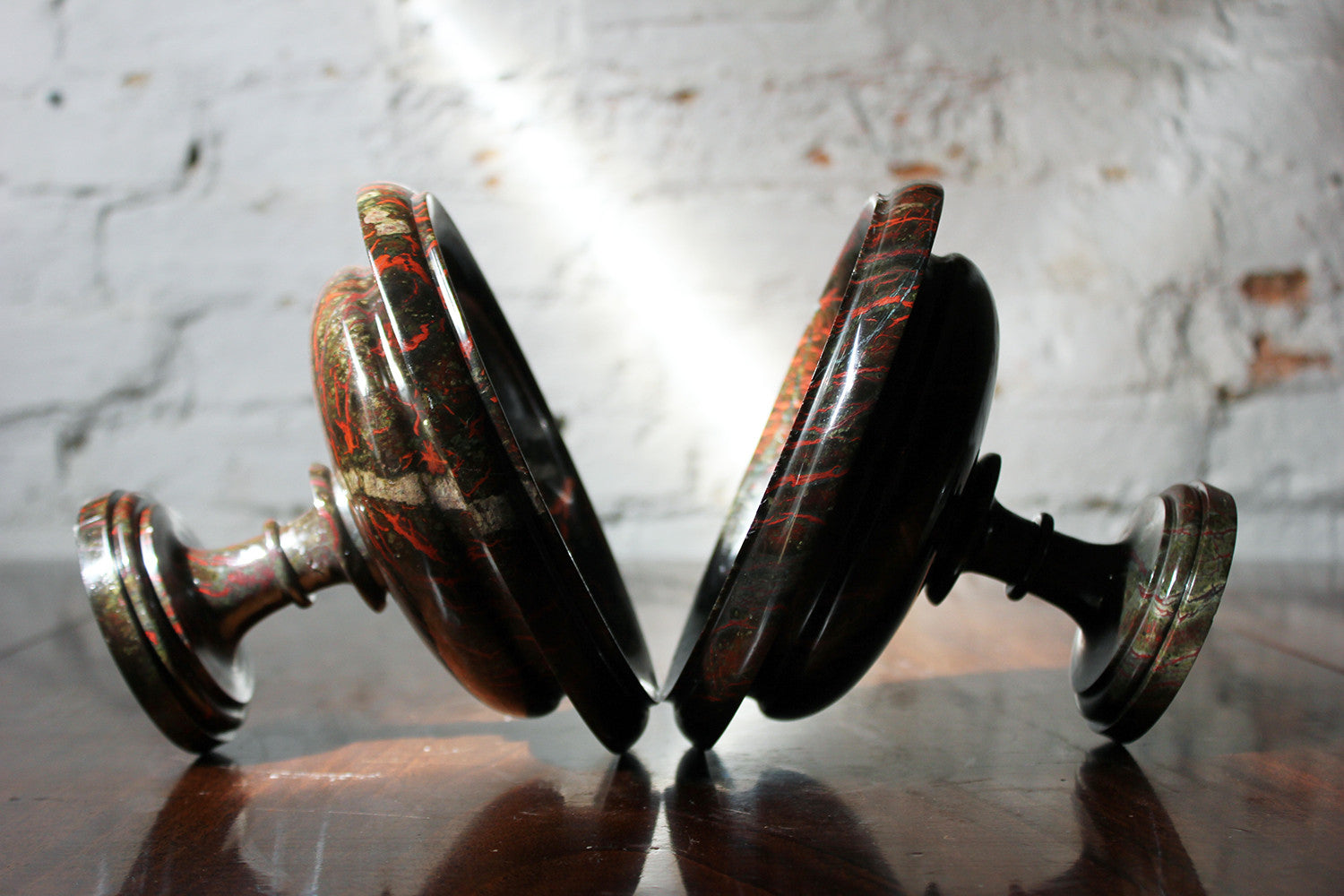 A Fine Pair of 19thC Cornish Serpentine Tazzas c.1830-50