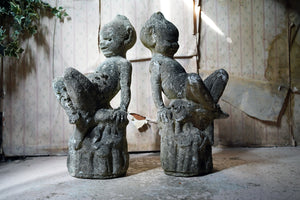 An Unusual Pair of Early 20thC Stone Garden Pixies c.1930