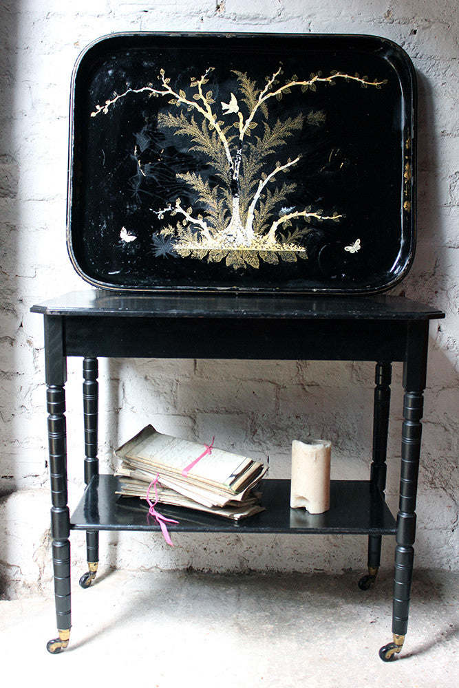 A Large & Attractive Black-Japanned Early Victorian Papier-Mache Tray c.1840