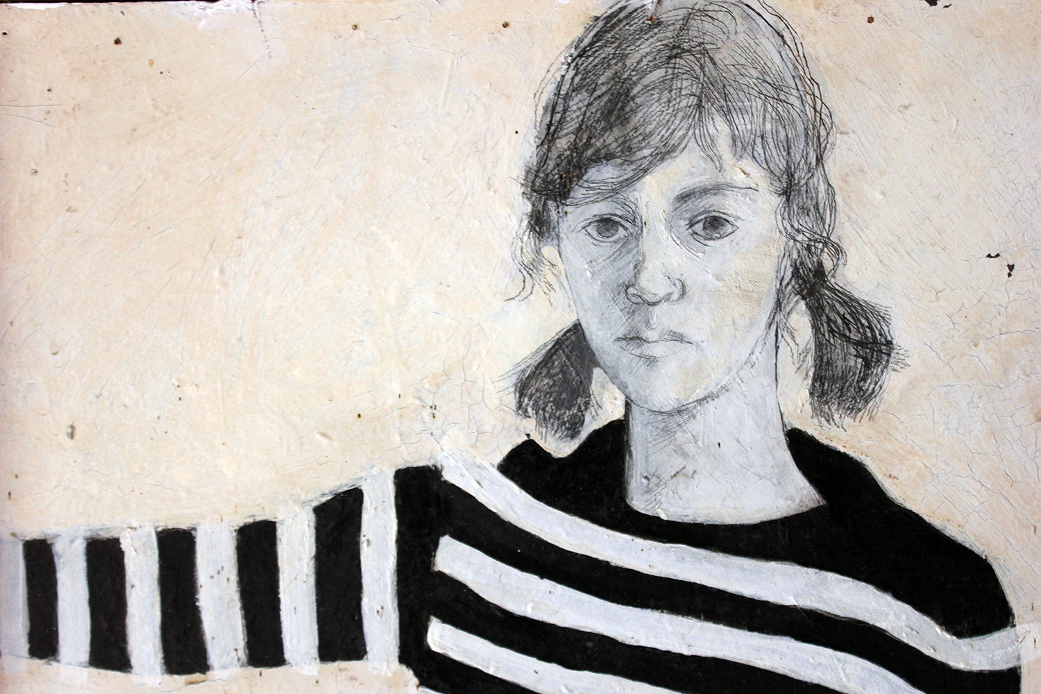 Patricia Algar (1939-2013); A Fabulous Full Length Mixed Media Self Portrait On Board, Dated to 1965