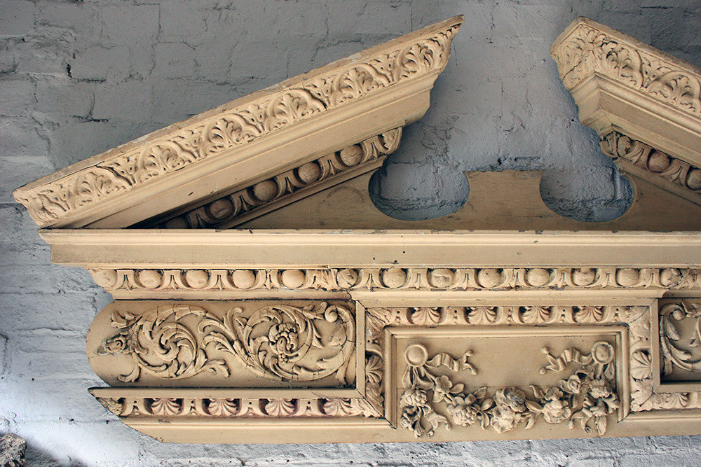 A Fine Regency Carved Pine & Gesso Overdoor Broken Pediment c.1825; Formerly of No.2 Wilton Crescent, Belgravia & the Earl Mountbatten, by Repute