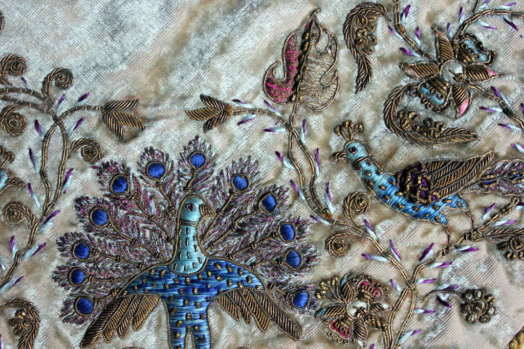 A Persian Style Velvet & Silk Embroidered Panel c.1900