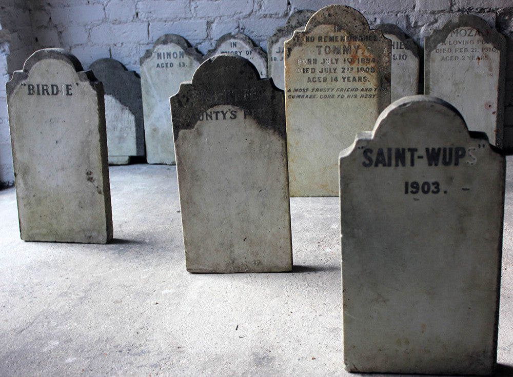 A Rare Group of Eight Early 20thC Memorial Marble Headstones for Beloved Pets c.1895-1916
