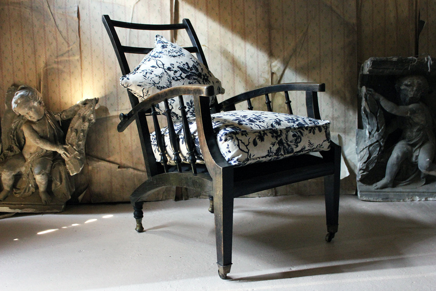 An Ebonised & Upholstered Philip Webb for Morris & Co Type Reclining Armchair c.1875