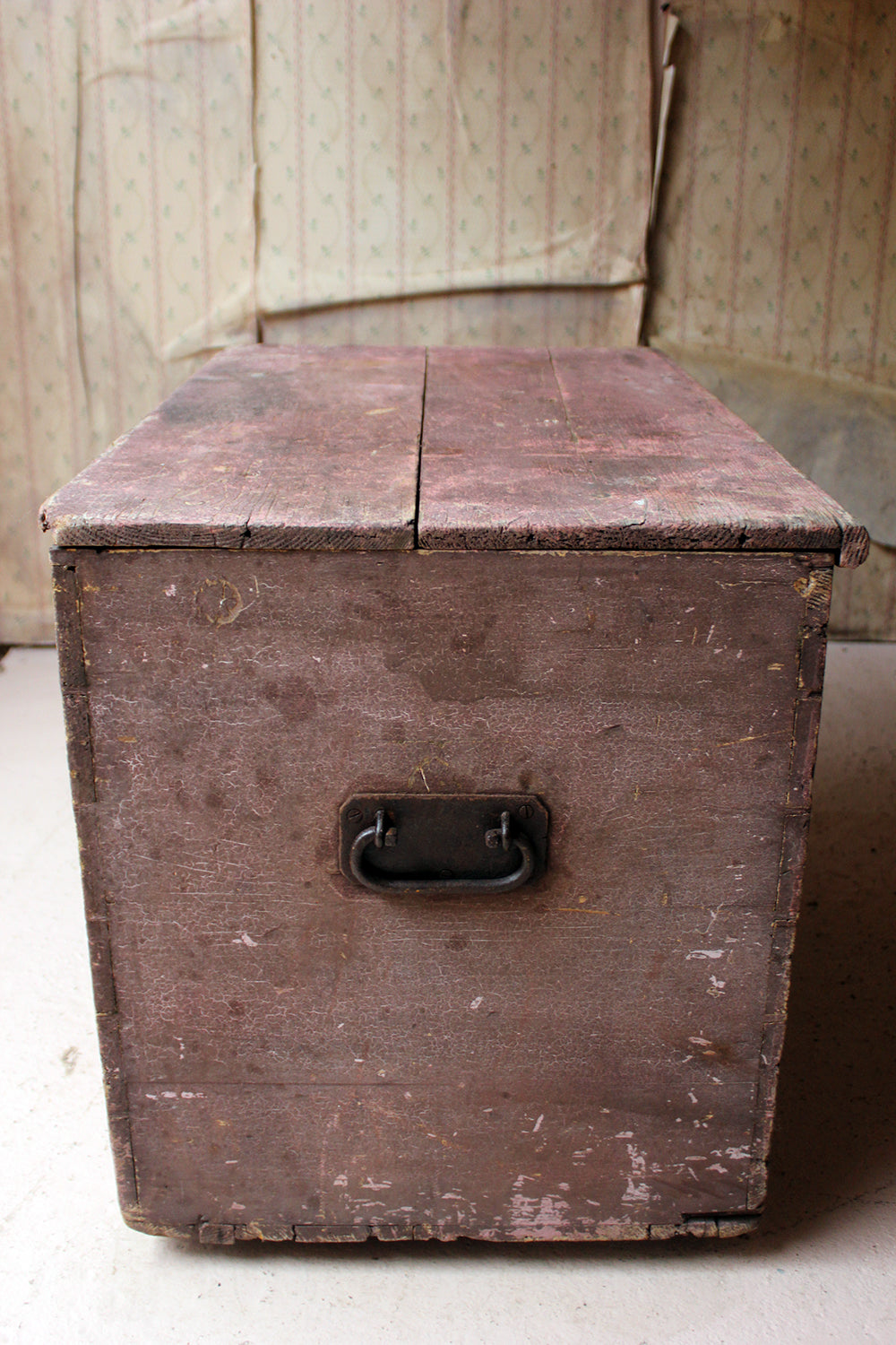 A Decorative Late Victorian Pink Painted Pine Trunk c.1900