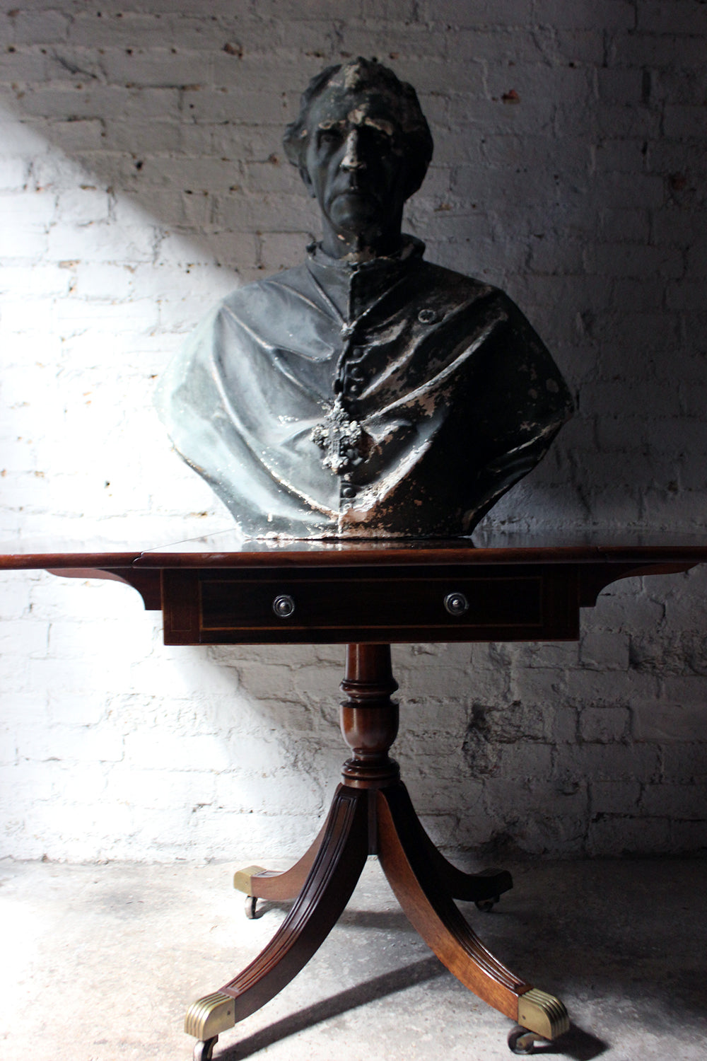 A Very Large & Decorative Late Victorian Painted Plaster Portrait Library Bust of a Cardinal c.1900